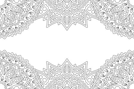 Beautiful monochrome background for coloring book page with linear abstract pattern and white copy space