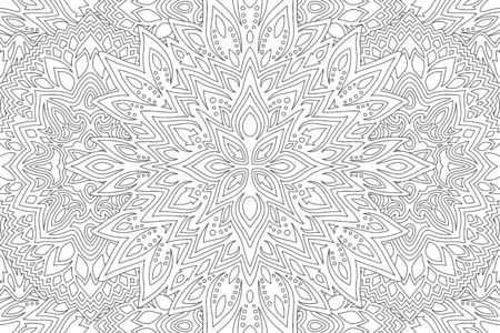 Beautiful Black and white illustration for coloring book page with linear abstract pattern
