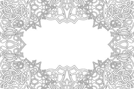 Beautiful monochrome border for coloring book art with abstract linear pattern and white copy space Ilustrace