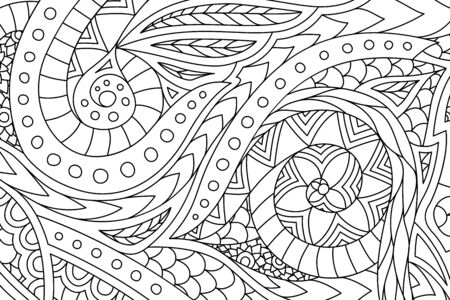 Beautiful monochrome linear illusration for coloring book page with hand drawn abstract pattern