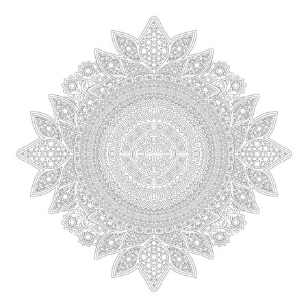 Beautiful monochrome linear illustration for adult coloring book page with abstract pattern on white background Ilustracja