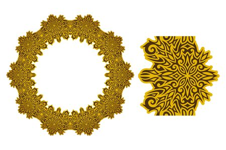 Beautiful colorful illustration with golden wreath and paint brush isolated on white background Ilustrace