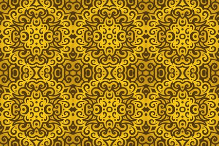 Beautiful abstract background with golden vintage seamless pattern
