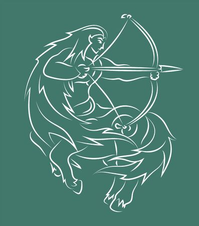 Beautiful hand drawn linear illustration with zodiac symbol sagittarius silhouette on the green background