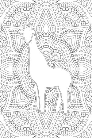 Monochrome linear illustration for coloring book page with white giraffe silhouette on abstract background