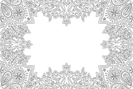 Beautiful monochrome linear floral border for adult coloring book page Ilustrace