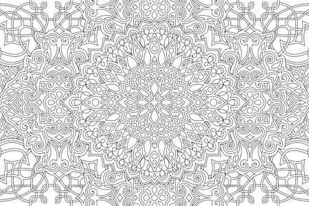 Beautiful monochrome illustration for adult coloring book with abstract linear pattern