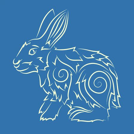 Beautiful hand drawn linear illustration with cartoon rabbit on the blue background