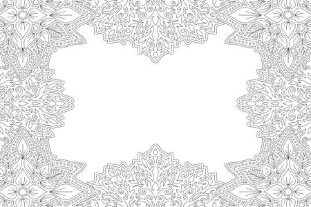 Beautiful monohrome linear illustration for coloring book page with floral border and copy space