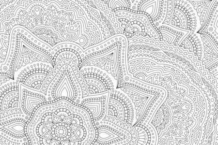 Beautiful monochrome linear illustration for adult coloring book with detailed abstract eastern pattern Ilustrace