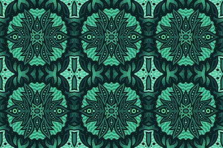Aquamarine color background with beautiful abstract seamless pattern