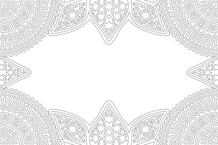 Beautiful linear monochrome illustration for coloring book page with decorative abstract border and copy space Vector Illustratie