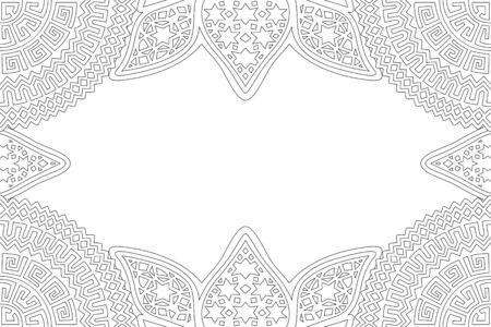 Mooie lineaire zwart-wit afbeelding voor het kleuren van de fotoboekpagina met decoratieve abstracte rand en kopieer ruimte Vector Illustratie