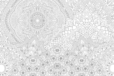 Beautiful monochrome illustration for adult coloring book with decorative linear landscape