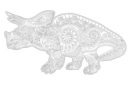 Beautiful linear cartoon monochrome illustration for coloring book page with decorative triceratops silhouette on white background
