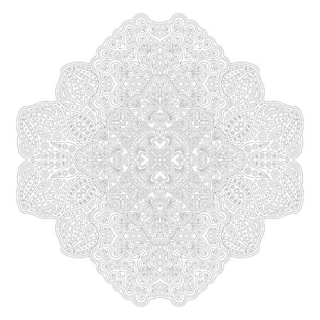Beautiful monochrome illustration for coloring book with Abstract linear pattern with heart shapes isolated on the white background Vector Illustratie