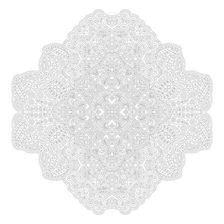 Mooie zwart-wit illustratie voor het kleuren van boek met Abstract lineair patroon met hartvormen geïsoleerd op de witte achtergrond Vector Illustratie