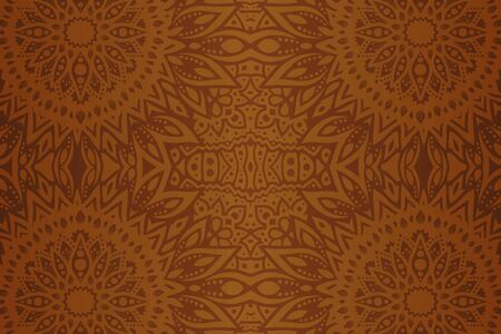 Beautiful brown abstract background with seamless geometric floral pattern