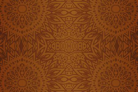 Beau fond abstrait marron avec motif floral géométrique sans soudure