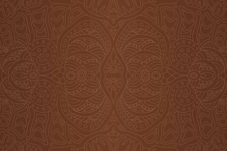 Beautiful illustration with linear seamless tribal pattern on the brown background