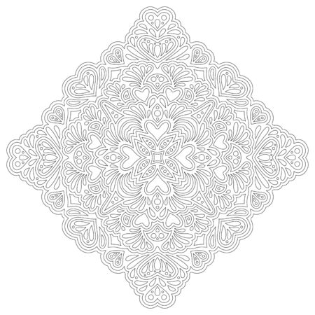 Beautiful monochrome linear illustration for coloring book page with abstract pattern with heart shapes isolated on the white background 向量圖像