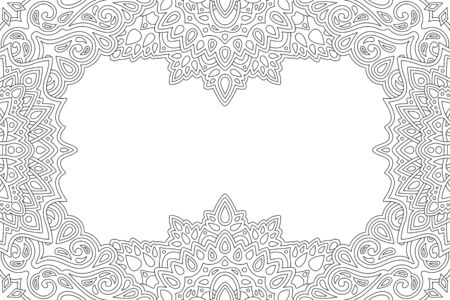 Beautiful monochrome linear illustration for coloring book page with abstract vintage border and white copy space