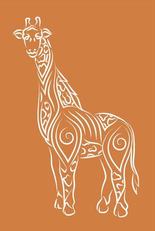 Beautiful hand drawn tribal linear illustration with cartoon giraffe silhouette on the orange background
