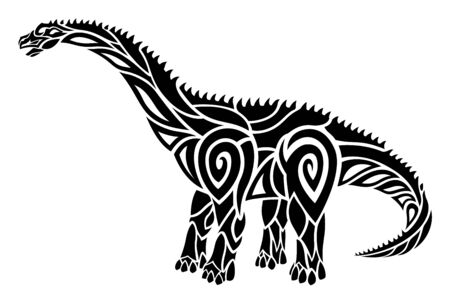 Beautiful tribal tattoo illustration with stylized black diplodocus silhouette on the white background