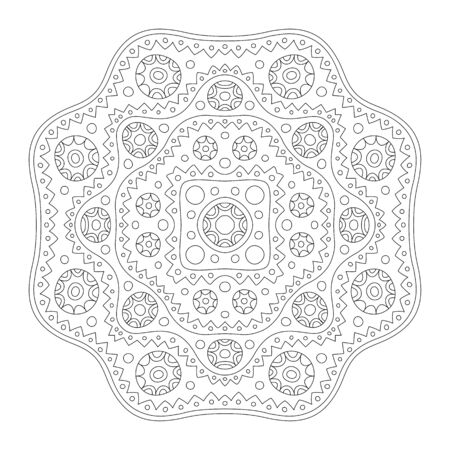 Beautiful monochrome illustration for coloring book page with abstract linear pattern isolated on the white background