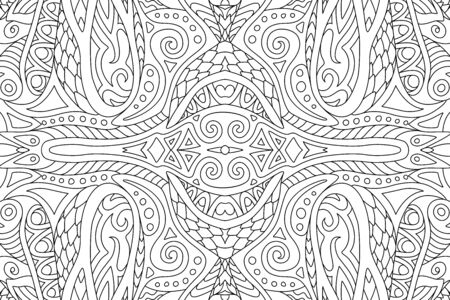 Beautiful black and white illustration for adult coloring book page with abstract rectangle linear pattern