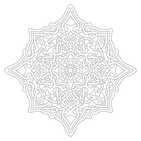 Beautiful monochrome linear illustration for coloring book page with abstract celtic pattern isolated on the white background Vector Illustratie