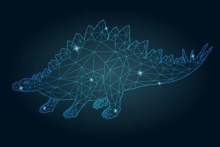 Beautiful cosmic low poly illustration with shiny blue stegosaurus silhouette on the dark background Ilustracja