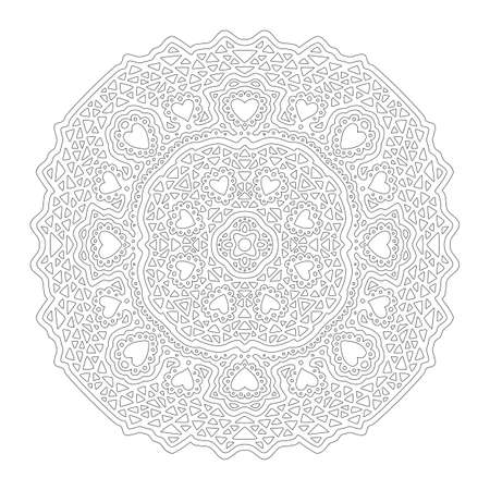 Beautiful monochrome illustration for adult coloring book page with round linear pattern isolated on the white background with heart shapes