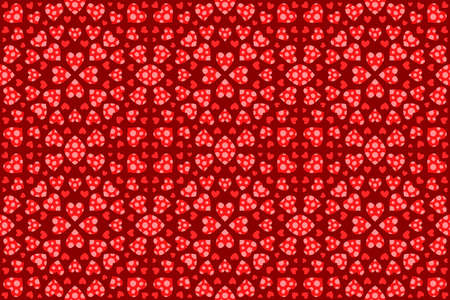 Beautiful red web background for valentines day with abstract romantic seamless pattern with heart shapes