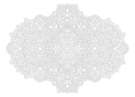Beautiful monochrome illustration for adult coloring book page with linear abstract eastern pattern isolated on the white background Illustration