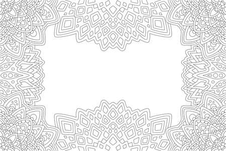 Beautiful monochrome linear illustration for adult coloring book with rectangle abstract eastern border and white copy space