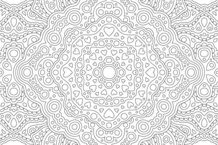 Beautiful black and white coloring book illustration for saint valentines day with abstract rectangle linear pattern with heart shapes