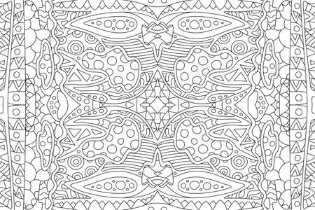Beautiful black and white linear illustration for adult coloring book page with abstract artistic rectangle pattern Illustration
