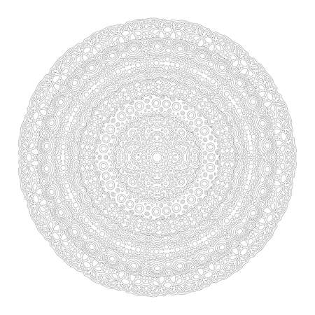 Beautiful monochrome linear illustration for adult coloring book page with round abstract pattern isolated on the white background