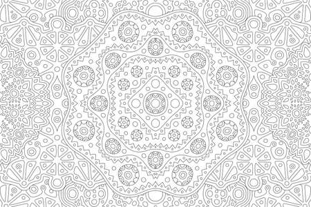 Beautiful black and white linear illustration for adult coloring book page with rectangle abstract pattern