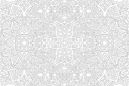 Beautiful black and white illustration for adult coloring book with abstract eastern linear pattern Vetores