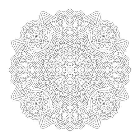 Beautiful monochrome illustration for coloring book page with linear abstract pattern isolated on the white background 矢量图像