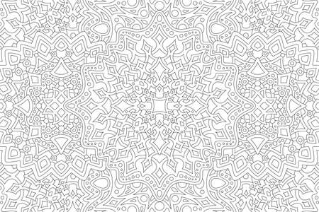 Beautiful black and white illustration for adult coloring book page with rectangle abstract linear pattern 矢量图像