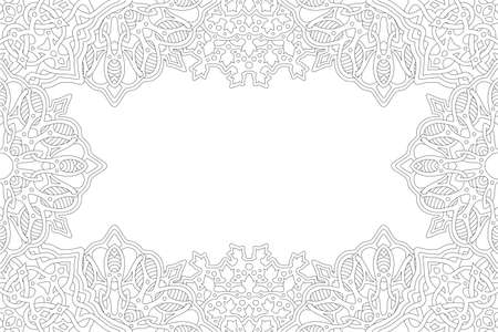 Beautiful monochrome vector linear illustration for adult coloring book with abstract rectangle border and white copy space