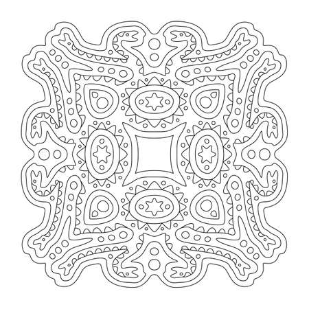 Beautiful monochrome illustration for coloring book page with linear tribal pattern with snakes isolated on the white background 矢量图像