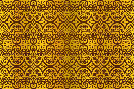 Beautiful illustration with golden eastern seamless pattern on the purple background