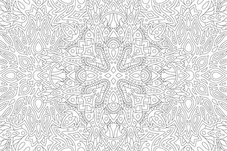Beautiful black and white illustration for adult coloring book with rectangle abstract linear pattern 矢量图像