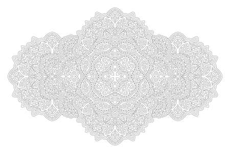 Beautiful monochrome illustration for adult coloring book with isolated on the white background abstract detailed linear pattern 矢量图像