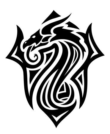 Beautiful tribal tattoo illustration with black dragon head isolated on the white background 矢量图像