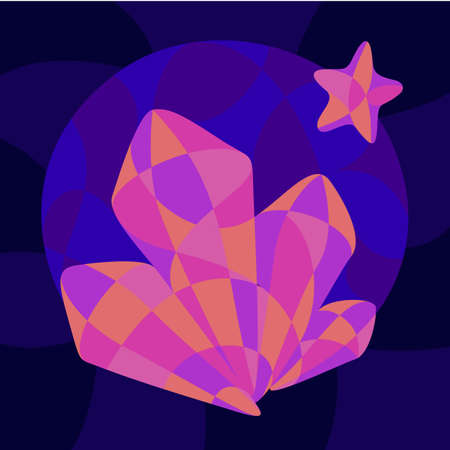 Beautiful colorful illustration with shiny neon colored crystal and star shapes on the dark blue background